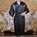 Venda quente homens Robes estilo verão Faux seda Men Wear início dragão chinês bordado Sleepwear banho homem vestido de pijama