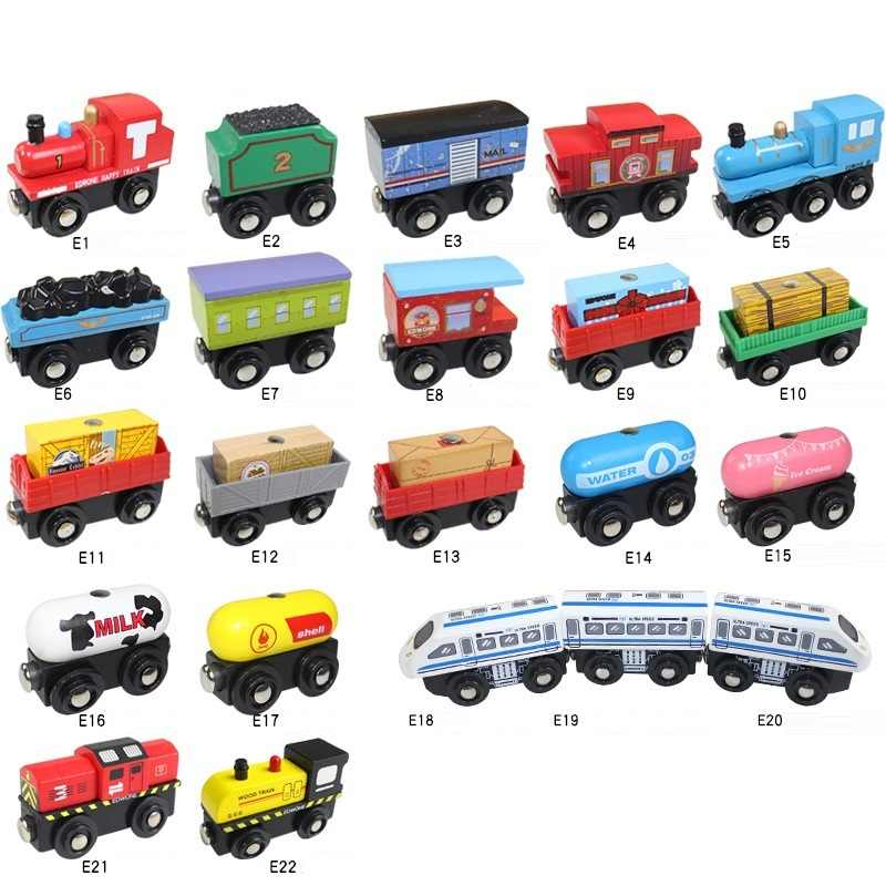 12PCS Wooden Train Set Mini Magnetic Locomotives Toy Compatible with Wooden Railway - Dropshipping