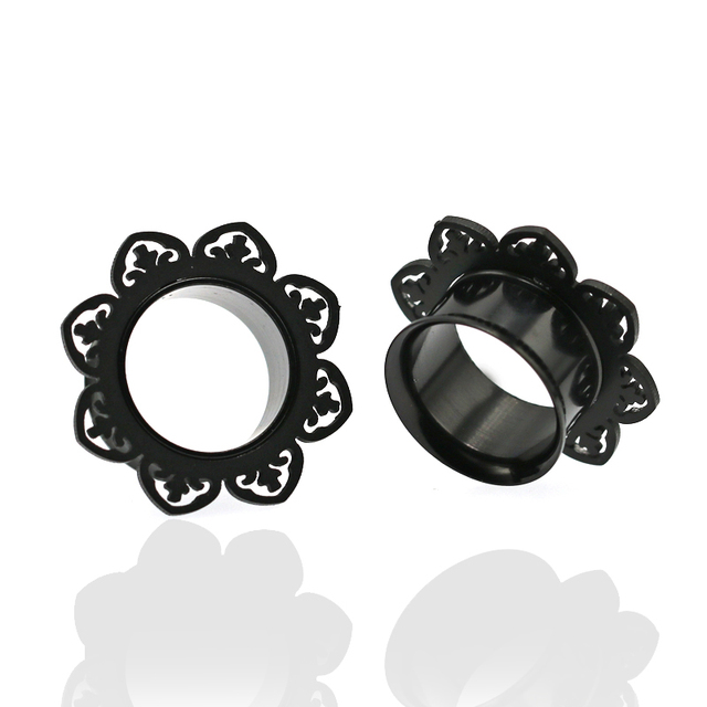 1 Pair Surgical Stainless Steel Gauge Earrings Black Ear Plug Tunnel Piercing Body Jewelry Single Flared