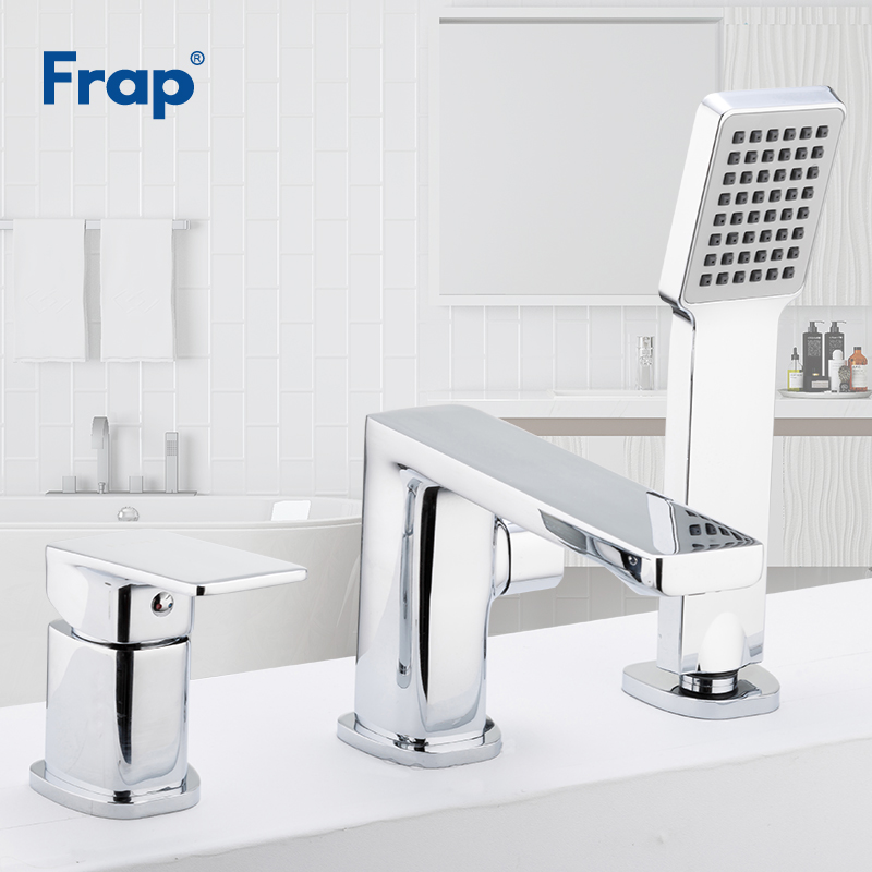 Frap Drei-stück Badewanne Wasserhahn Bad Dusche Wasserhahn Bad Dusche Set Wasserfall Bad Waschbecken Wasserhahn Wasser Mischbatterien F1134 /f1146