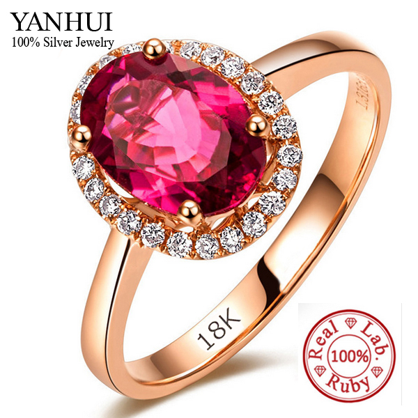 Promotion Luxury 5 Carat Natural Red Stone Wedding Rings For Women Rose Gold Filled Crys ...