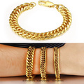 12mm  Width Real gold plated Chain bracelet bangle for men pulsera hombre braceletes de ouro oro  Trendy jewelry wholesale