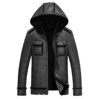 Winter men genuine leather coats sheepskin shearling fur pilot motorcycle jackets manteau homme veste cuir homme
