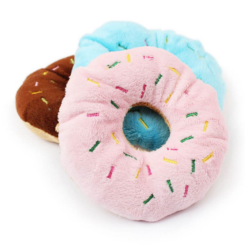 Cute Donuts Puppy Cat Squeaker Squeaky Plush Sound Pet Dog Toys Funny Chew Throw Plush Squeak Toys 3 Colors #2