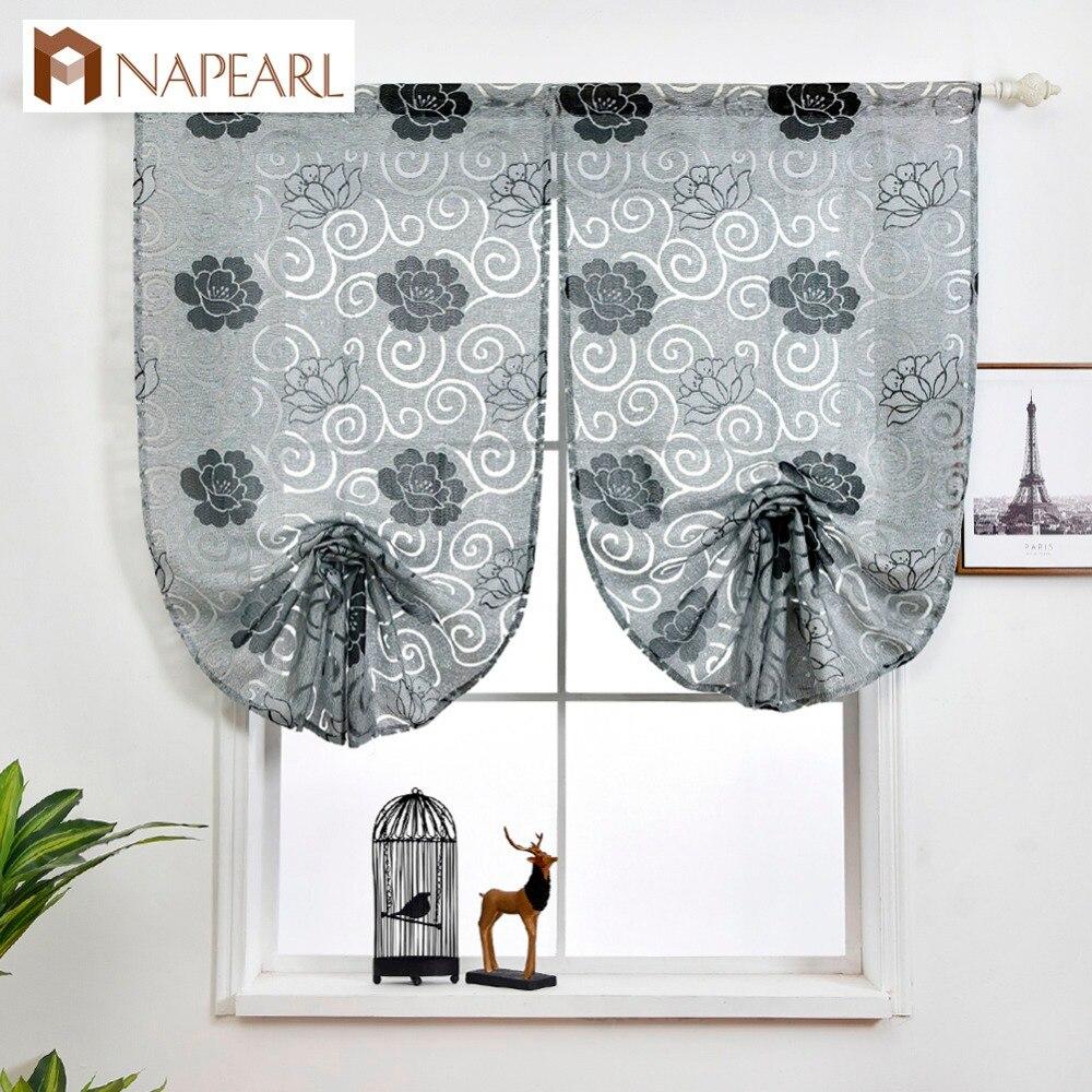 €4.27 52% de réduction|Rideau romain court cuisine moderne petite fenêtre  porte rideau tissus jacquard design floral gris rouge attache ballon ...