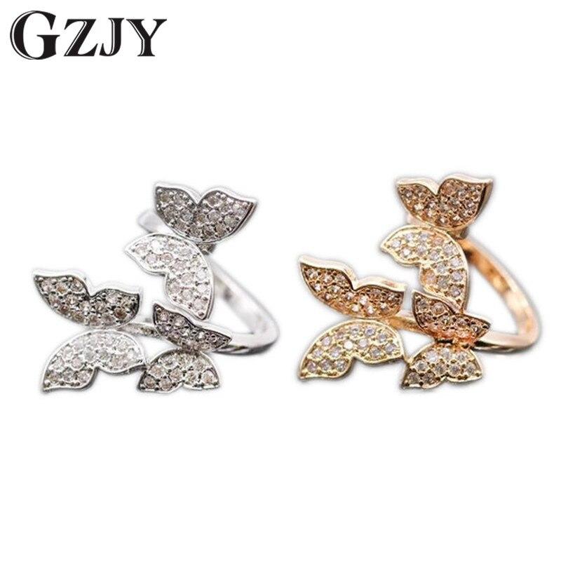 GZJY Moda Squisita Tre Farfalle Color Oro Con AAA Zircone Cristallo Austriaco Fedi Per Le Donne del Regalo 2 colori G10-2