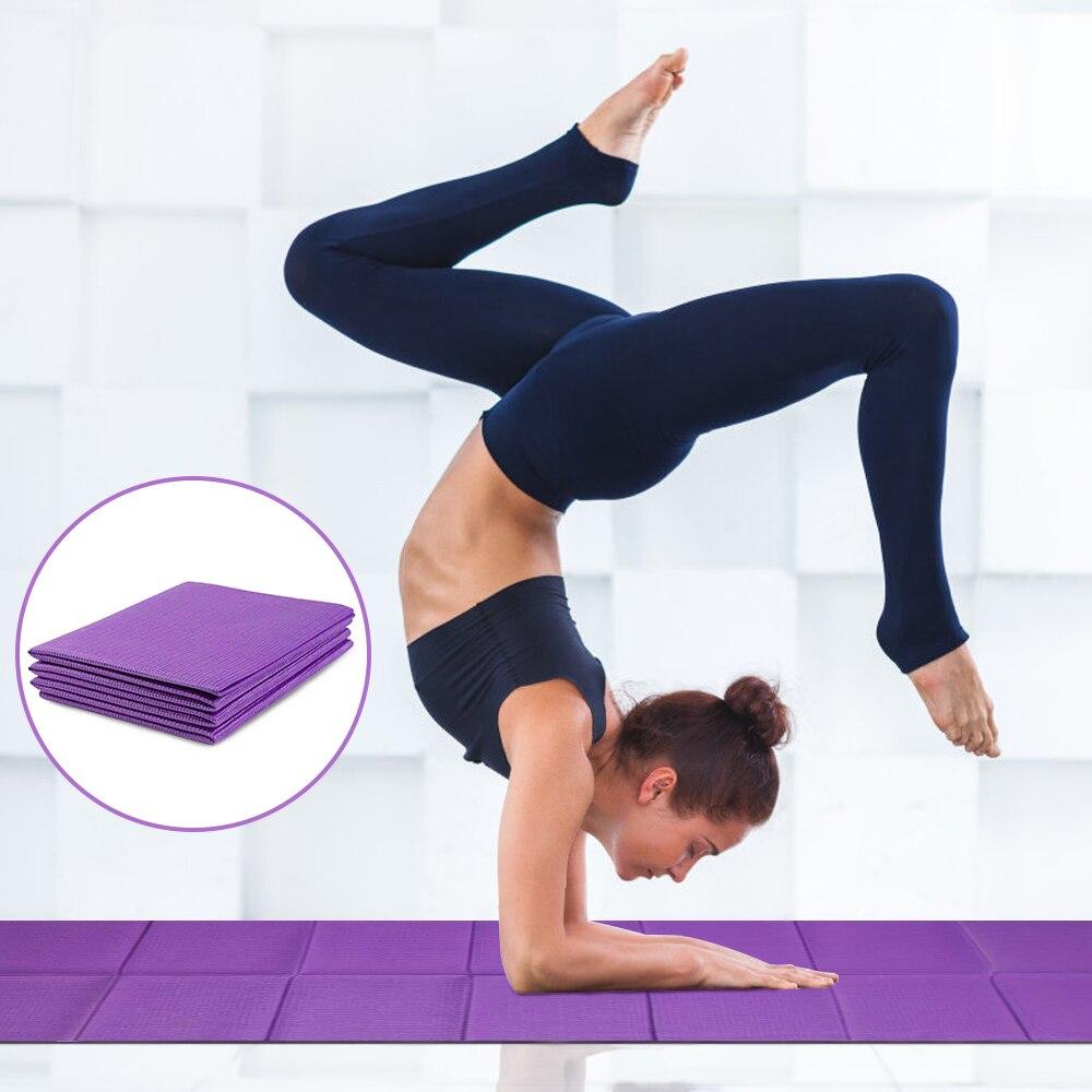 GR  6mm PVC Foldable Yoga Mat Non Slip Carpet Fitness Mat Gym Exercise Pilates Easy To Carry Sports For Beginner 175*60 CM