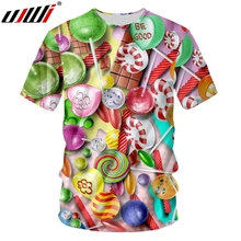 UJWI Mens Short Sleeve Tshirt 3D Printed Colorful Candy Couple Clothing Best Selling O Neck T Shirt Colored Lollipop