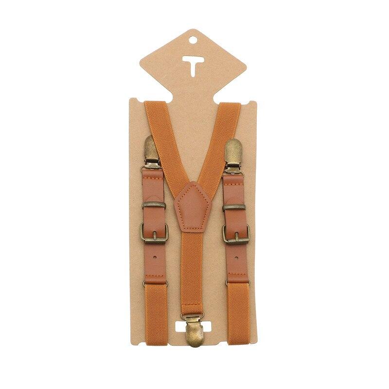 1 Pc Vintage Braun Leder Legierung 3 Bronze Clips Männlichen Kind Vintage Casual Hosen Westlichen Stil Hosen Jungen Hosenträger Gurt