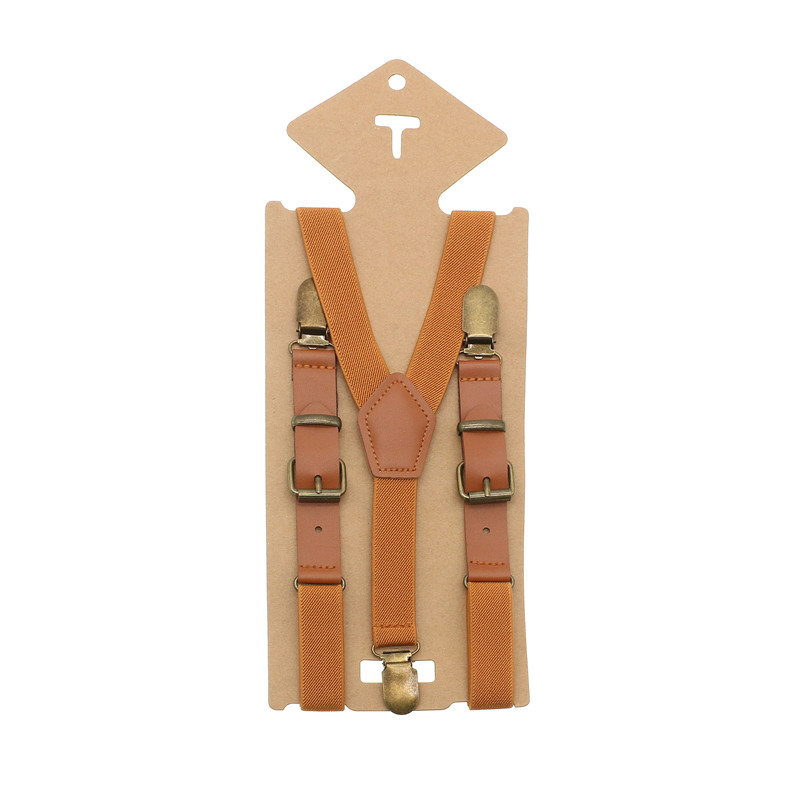 1pc Vintage Brown Leather Alloy 3 Bronze Clips Male Kid Vintage Casual Suspenders Western-Style Trousers Boy's Braces Strap