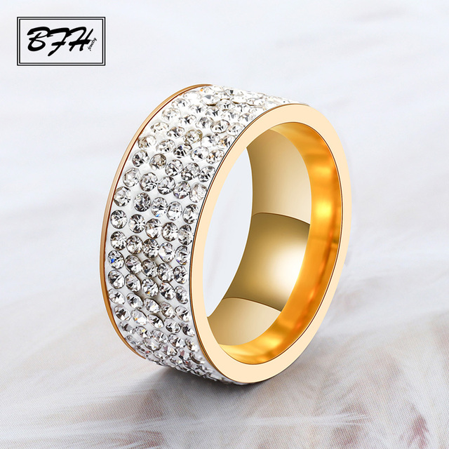 BFH Vintage Fashion Crystal Zircon Gold Rings for Women Men Engagement Wedding L