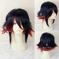"""Anime a matar a la Matoi """"Ryuko"""" azul corto y calor rojo resistente Cosplay del pelo de peluca + gratis peluca gorro"""