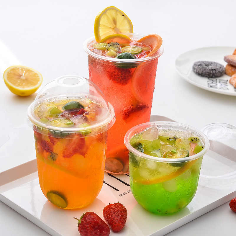 Transparent U Shape Food Grade PP Frozen Drink Cup Disposable Cute Juice Glass Milk Tea Packing Mug Take-out Drinkware Tool 50pc