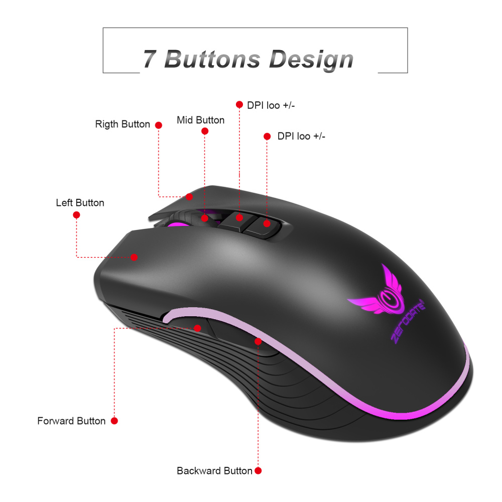 Image 2 - ZERODATE new TYPE C fast charging mouse wireless mouse 2.4G colorful breathing light black suitable for notebook desktop PC-in Mice from Computer & Office