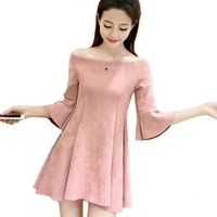 2017 New Spring Summer Women Faux Suede Dress Off The Shoulder Strapless Sexy Mini Dresses Slim