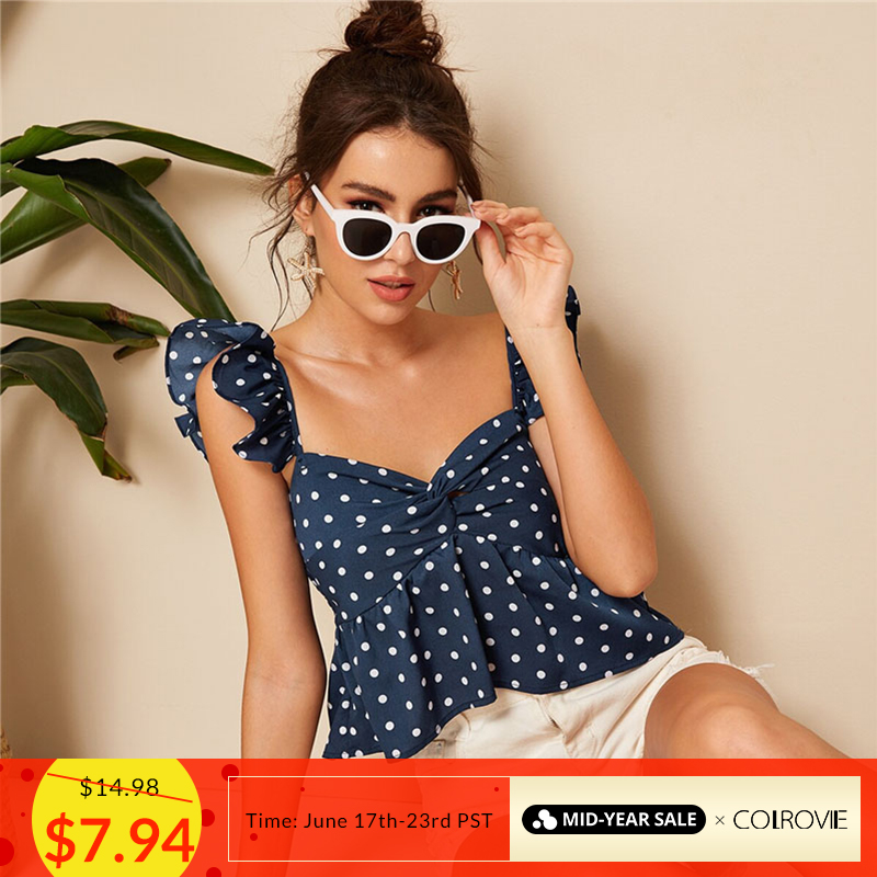 COLROVIE Navy Twist Polka Dot Boho Crop Peplum Top Women Sexy   Blouse     Shirt   2019 Summer Holiday Wear Vacation Ladies   Blouses