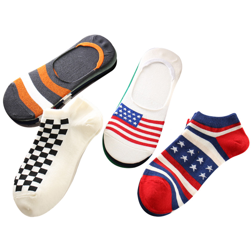 5pairs Men Socks Summer Spring Invisible Boat Socks Non-slip Male Fashion Cotton Male Colorful Flag Funny Sock Slippers Meia Sox