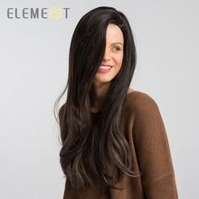 Elemento longo sintético onda natural peruca com franja lateral manchete natural glueless ombre cabelo substituição perucas de festa para mulher