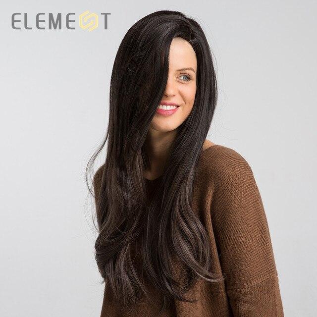 אלמנט ארוך סינטטי טבעי גל פאה עם שוליים צד כותרת טבעית Glueless Ombre שיער החלפת מסיבת פאות עבור נשים