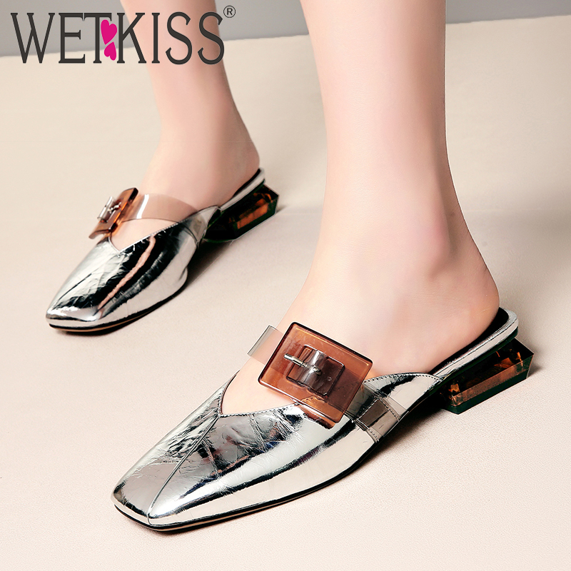 WETKISS 2019 New Slides Shoes Women Transparent Pvc Slippers Summer Strange Style Shoes Female Buckle Cow