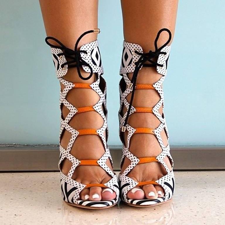 plus size 45 ladies shoes lace up sexy high heels sandals women mixed colors print sandalia tacon cross-tied sandalhas feminina все цены