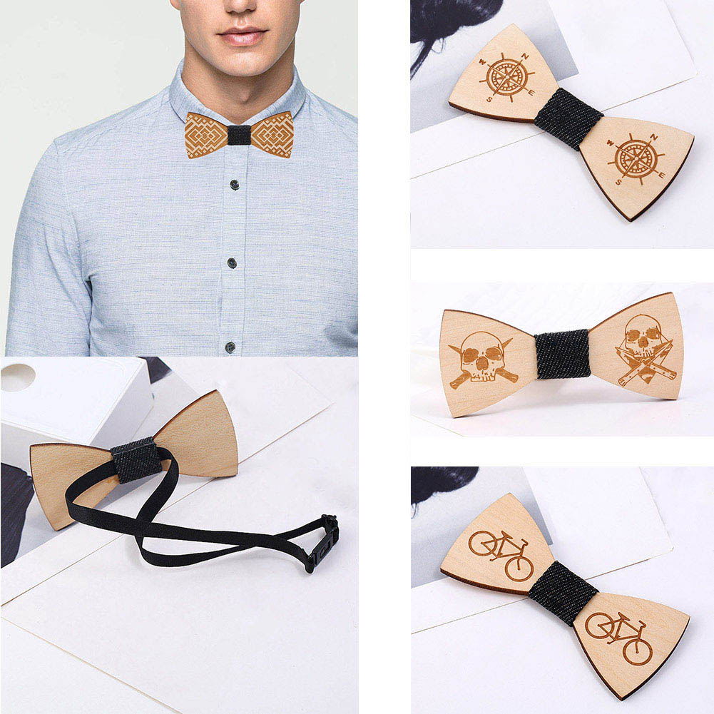 Mens Wedding Party Gifts: Bamboo Wood Bowtie Neck Wear Cravat 2018 Wedding Party