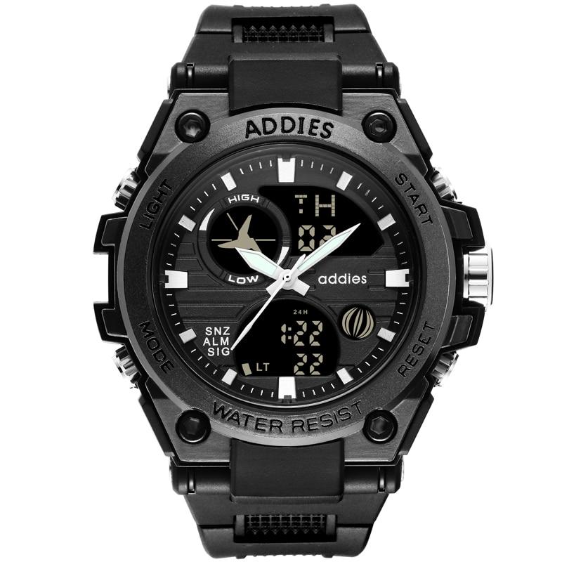 Addies Watches Men Analog Quartz Digital Watch Waterproof Sports for LED Electronic Clock Reloj Hombre 2019