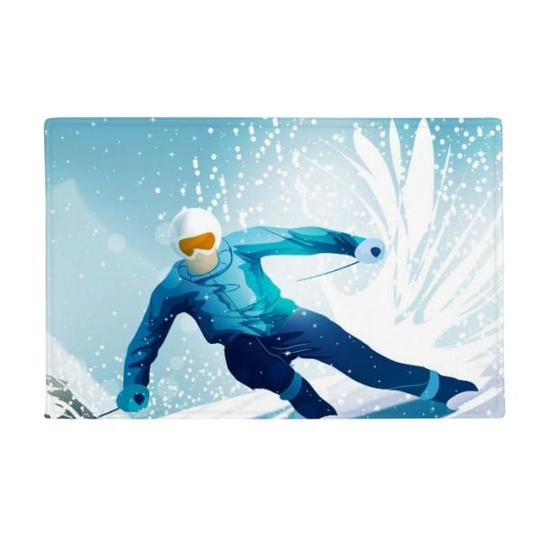 Winter Sport Skis and Ski Pole Illustration Anti-slip Floor Mat Carpet Bathroom Living Room Kitchen Door 16x30Gift