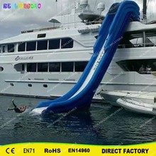 Free shipping giant floating inflatable yacht slide water slide for sale outdoor commercial use giant inflatable double lane water slide with arch