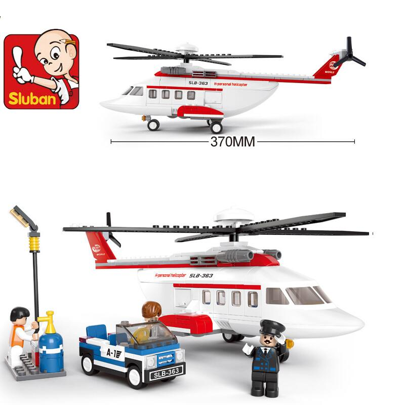 Sluban 2017 New Private Helicopter B0363 Building Block Sets 259pcs Educational DIY Jigsaw Construction Bricks toys for children banbao 8581 animal farm building block sets figures 315pcs educational diy construction bricks toys for children z199