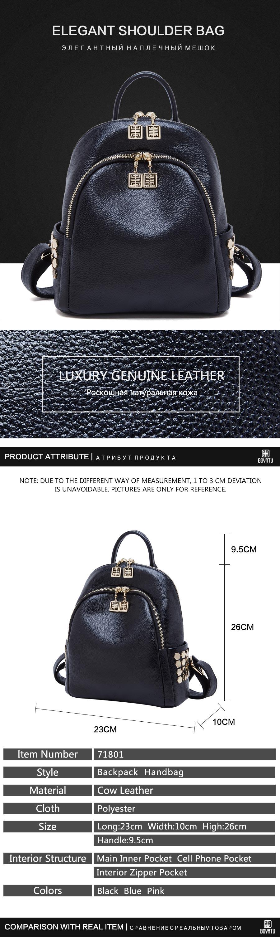 71801_01 BOYATU Designer Backpack Super Zipper Luxury Genuine Leather Backpack Women 2017 Original Muchila Obag Sack Mochila Feminina