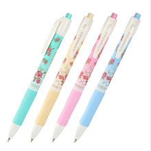 ФОТО 5 pcs/lot hot sale school stationery quality blue ink ballpoint pen classical flower pattern flexible pen school&office supplies