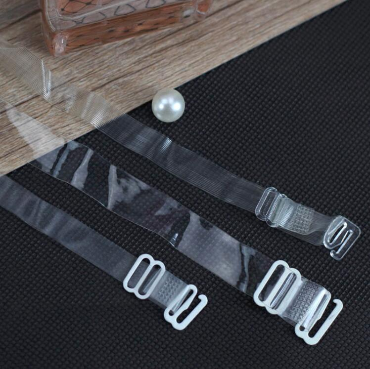 Free Shipping 1 Pair Lady Bra Straps Belt Elastic Transparent Silicone Bra Straps Adjustable Metal Buckle Baldric Intimates Acce