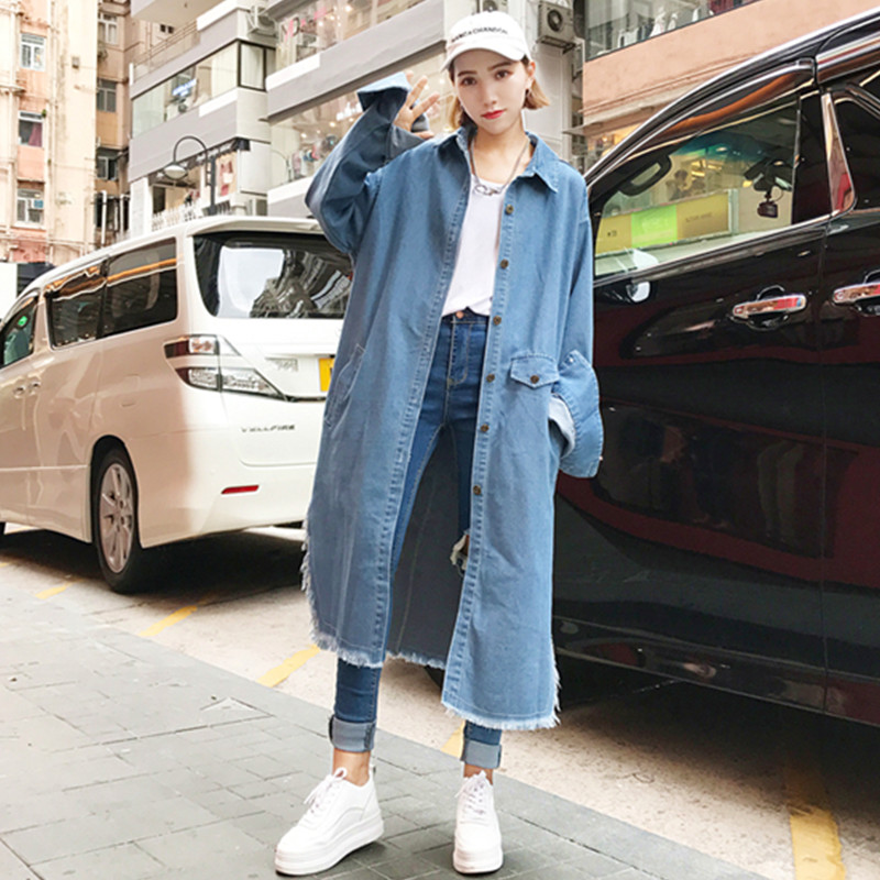 New Womens Trendy Loose Harajuku Side Vent Females Coat Fashion Lady Student Style Vintage Solid Color Women Denim Trench Female