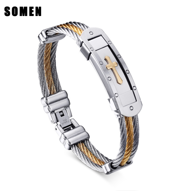 Wire Braided Hemp Rope Stainless Steel Bracelet Fashion Men Punk Heavy Metal Gold Silver Color Cross Bracelets & Bangles Jewelry opk punk cross bracelet for men length 16 5 21 cm mesh strap band stainless steel black gold color male wrap bracelets gh878