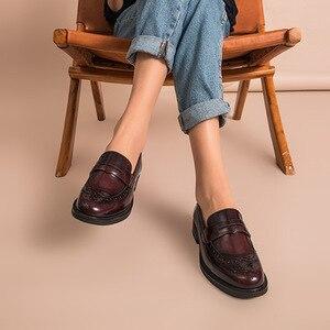 Image 4 - Beautodayペニーローファー女性本物の牛革ラウンドトウ翼端施釉靴パテントレザーブローグフラット手作り27039