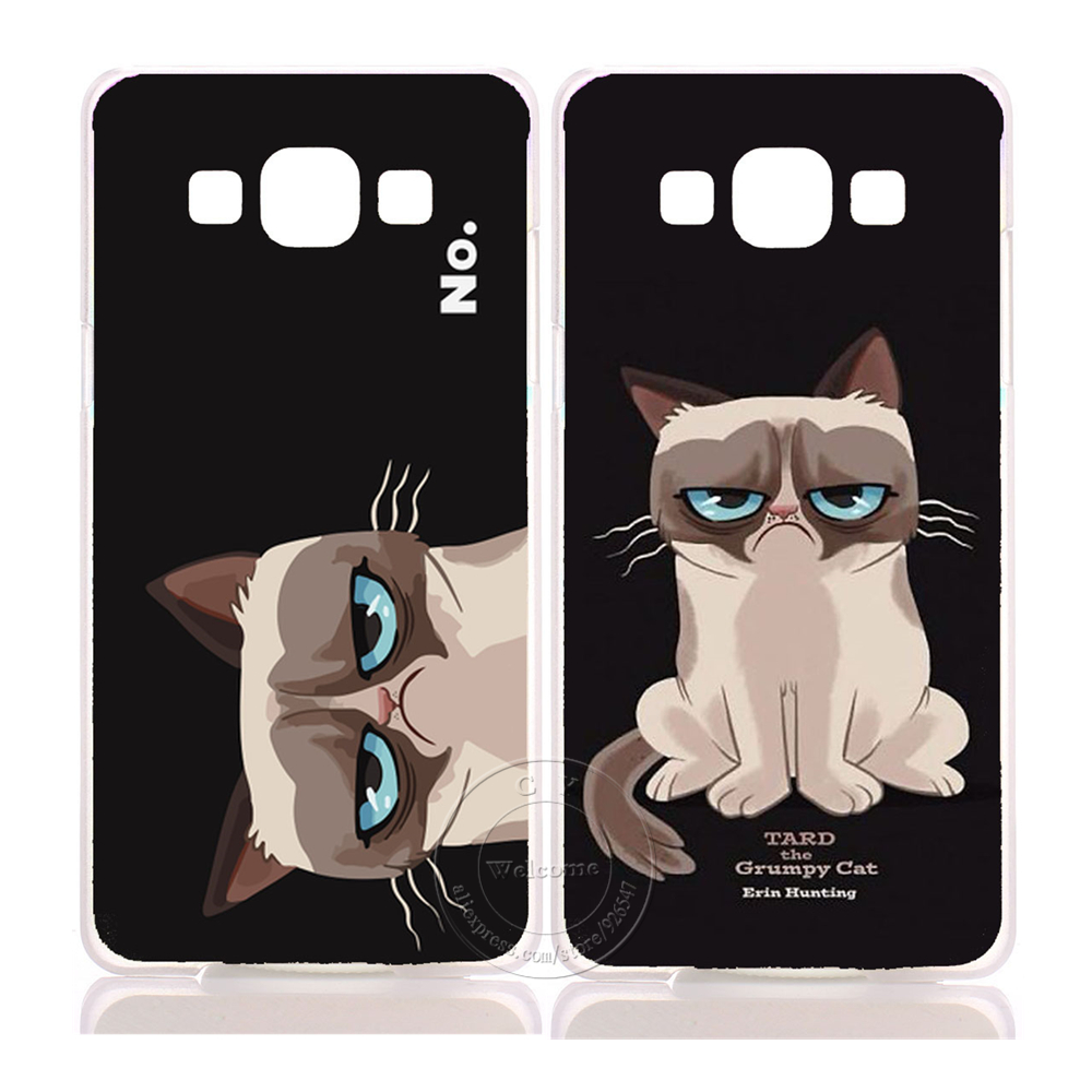 New Arrive Super Hot Grumpy Cute Cat Hard Plastic Case Cover For Samsung Galaxy A3 A5