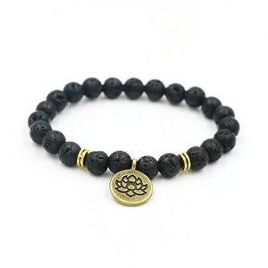Image 5 - Pietra vulcanica lavica naturale buddismo energia preghiera perline braccialetto OM per uomo donna coppie Lotus Buddha Charm Yoga bracciale