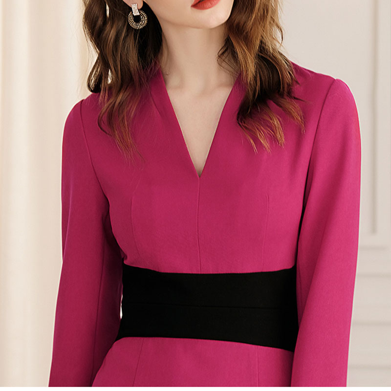 Hiver A 2018 Femme Crayon Lady Fuchsia Patchwork Femmes Couleur Nouvelles Office Robes De Élégant Robe V ligne Mode Automne K057 cou 5PqPwS
