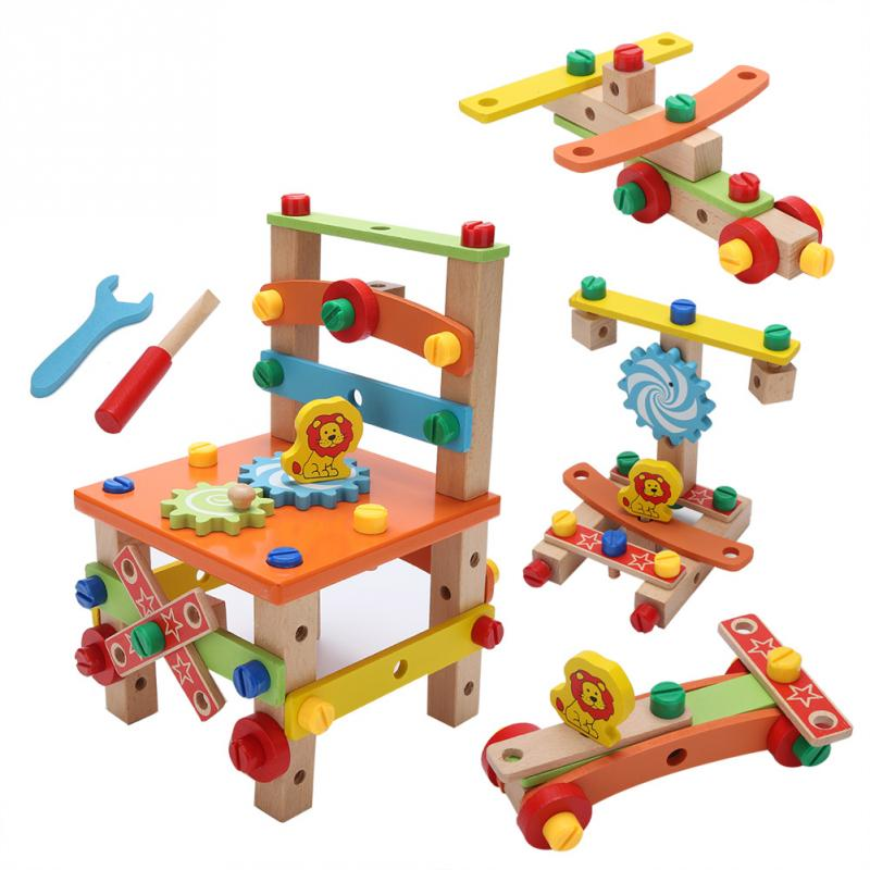 Genteel 2 Type Diy Wooden Disassembly Chair Toys Tool Assembly Toys Of Nuts Wooden Puzzle Learning Toys For Children Kids Birthday Gift