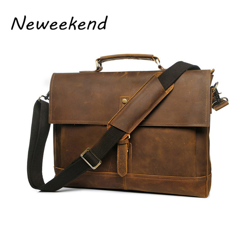 NEWEEKEND Retro Casual Genuine Leather Crazy Horse 14 Inch Cowhide Crossbody Briefcases Handbag laptop Ipad Bag for Man YD-8047 neweekend 1005 vintage genuine leather crazy horse large 4 pockets camera crossbody briefcase handbag laptop ipad bag for man