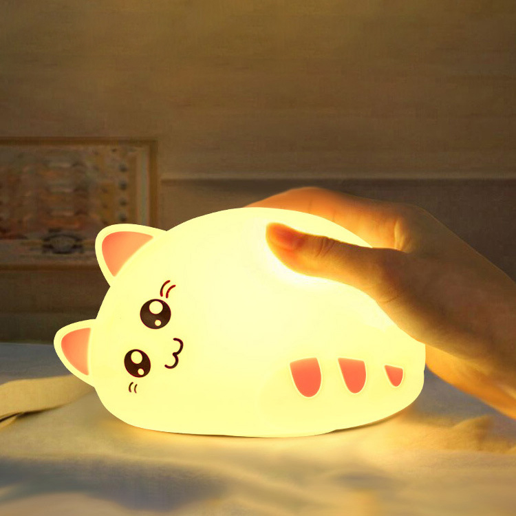 USB rechargeable cartoon LED Night Light Animal Cat stype Silicone Soft Breathing Cartoon Baby Nursery Lamp for Children Gift beiaidi 7 color usb rechargeable rabbit led night light dimmable animal cartoon light with remote baby kids christmas gift lamp