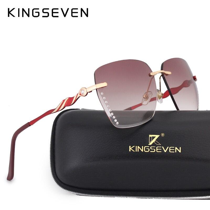 KINGSEVEN Sunglasses For Women Square Rimless Elegant Brand Designer Fashion Shades Sun Glasses With Box