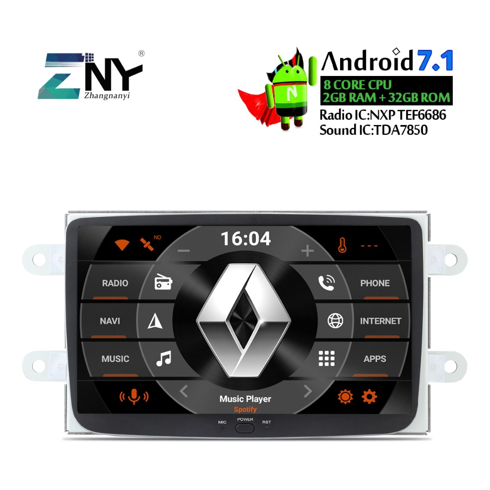 8 Android Auto Radio GPS For Renault Duster Dacia Sandero Logan Dokker Captur Lada Xray 2 Car Stereo Glonass Navigation No DVD