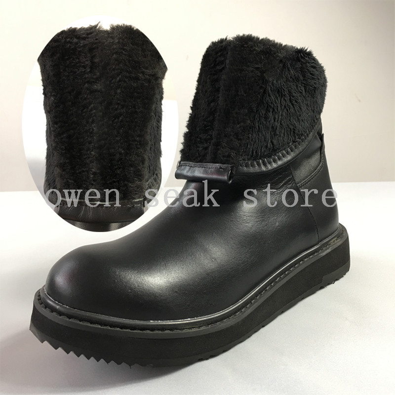 Nieve Genuino Zapatos Para Felpa Planos Hombre De Altas Invierno Seak Owen Botas Cuero Plush Deporte Plush no Casual Lujo Zip Zapatillas Marca Tobillo qv76Uw6HP