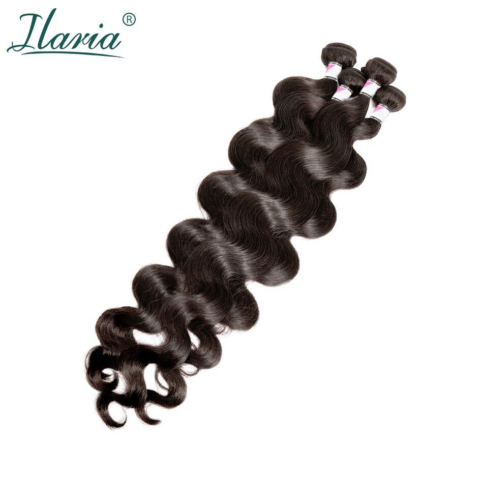 Ilaria Natural Hair 30 Inch 32 34 36 38 Inch 40 Inch Bundles Peruvian Virgin Hair Body Wave Human Hair Weave Bundle 1 / 3 / 4 PC
