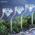MIRSOU 4PCS Solar Lawn Light LED Bulbs RGB 12V Garden Lamp Patio Lamp LED Solar Lamp Diamond Yard Light Outdoor Light