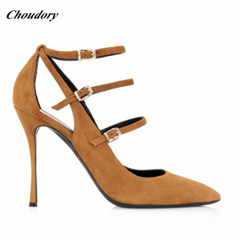 2019 Sapatos Détouré Gladiateur En Pointu Chaussures Hauts De Soirée Boucle À as Pic As Daim Bout Sexy Mulher Sangle Pic Souliers Talons Mode r7Zq7w5I