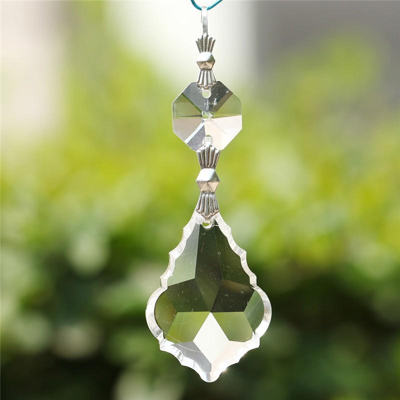 10PCS Clear 38cm French Leaf Silver Bowtie Chakra Spectra Suncatcher Chandelier Glass Crystals Lamp Prisms Parts Hanging Pendant