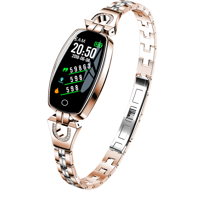 Mode femmes Fitness montre en or Rose Bracelet en acier Bracelet montre intelligente femmes fréquence cardiaque en cours d'exécution sport dames podomètre montres